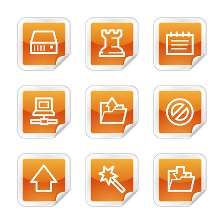 Data web icons, orange glossy sticker series Vector