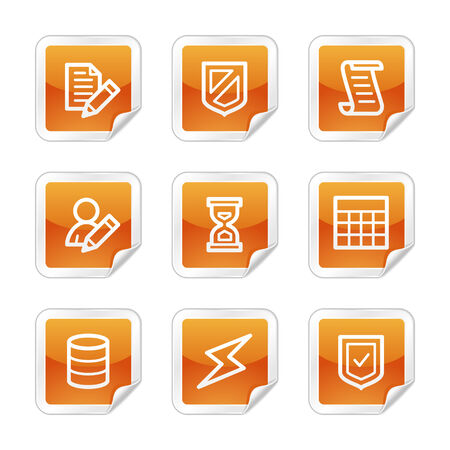 Database web icons, orange glossy sticker series Vector