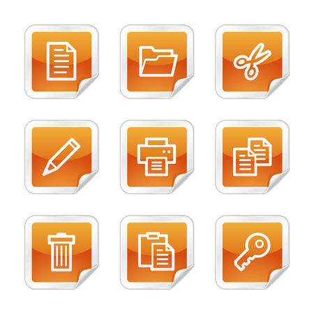 Document web icons, orange glossy sticker series Vector