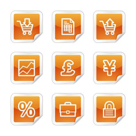 E-business web icons, orange glossy sticker series Vector