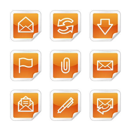 E-mail web icons, orange glossy sticker series Vector