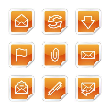 webmail: E-mail web icons, orange glossy sticker series Illustration
