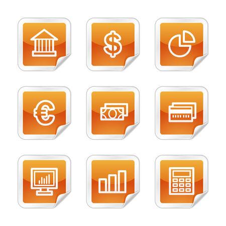 Finance web icons, orange glossy sticker series Stock Vector - 3678251