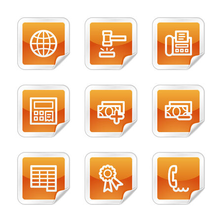 Finance 2 web icons, orange glossy sticker series Vector