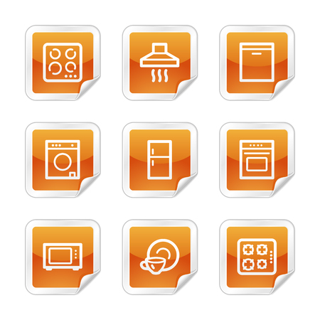 Home appliances web icons, orange glossy sticker series Vector