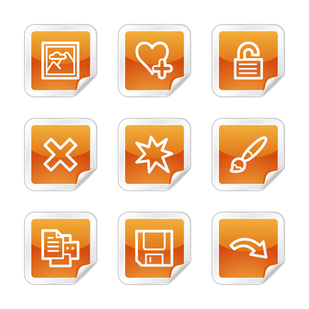 and viewer: Image viewer 2 web icons, orange glossy sticker series