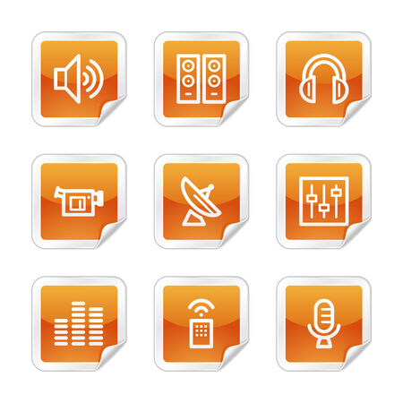 Media web icons, orange glossy sticker series Stock Vector - 3678255