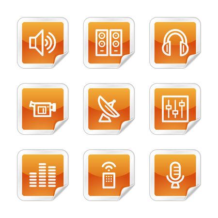 Media web icons, orange glossy sticker series Vector