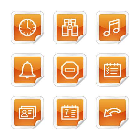Organizer web icons, orange glossy sticker series Vector
