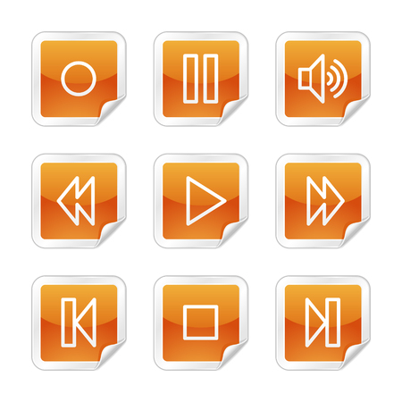 Walkman web icons, orange glossy sticker series Stock Vector - 3678227