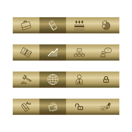 cylinder lock: Business web icons on bronze bar. Vector file has layers, all icons in two versions are included.