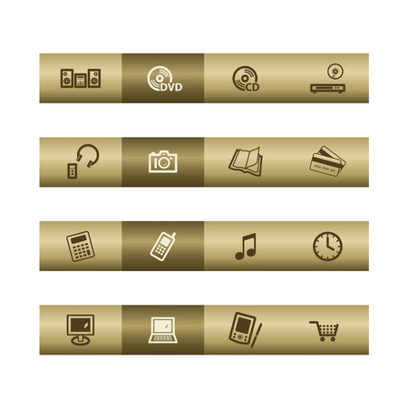 Electronics web icons on bronze bar. Vector file has layers, all icons in two versions are included. Stock Vector - 3685197