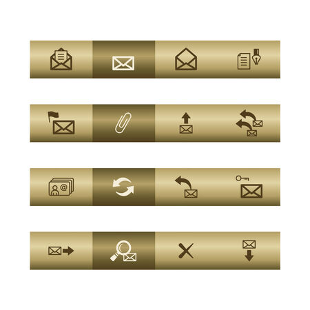 cylinder lock: E-mail web icons on bronze bar. Vector file has layers, all icons in two versions are included.