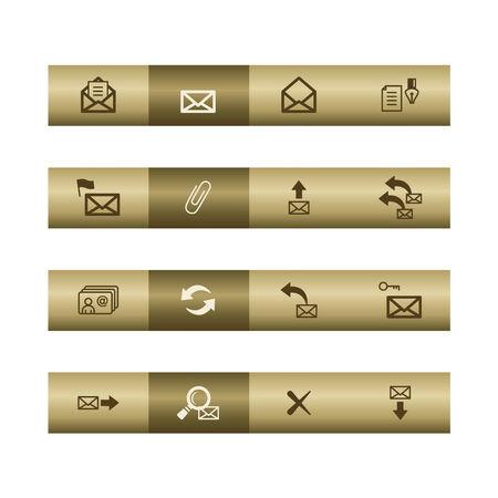 중요: E-mail web icons on bronze bar. Vector file has layers, all icons in two versions are included.