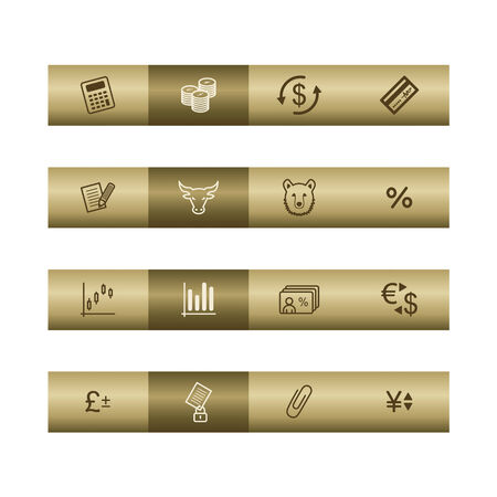cylinder lock: Finance web icons on bronze bar. Vector file has layers, all icons in two versions are included. Illustration