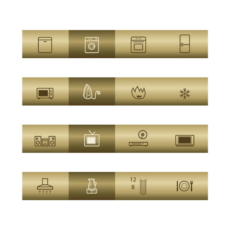 Home appliances web icons on bronze bar. Vector file has layers, all icons in two versions are included.