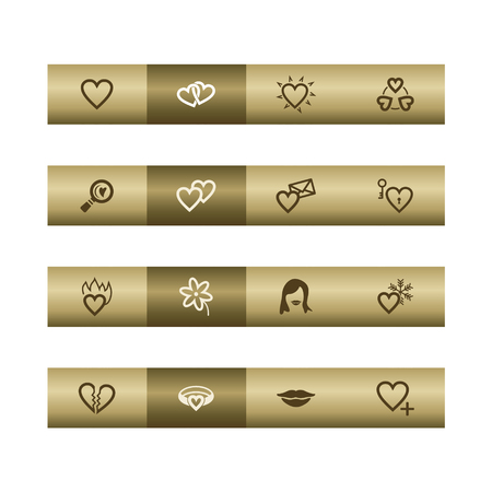 Love web icons on bronze bar. Vector file has layers, all icons in two versions are included.