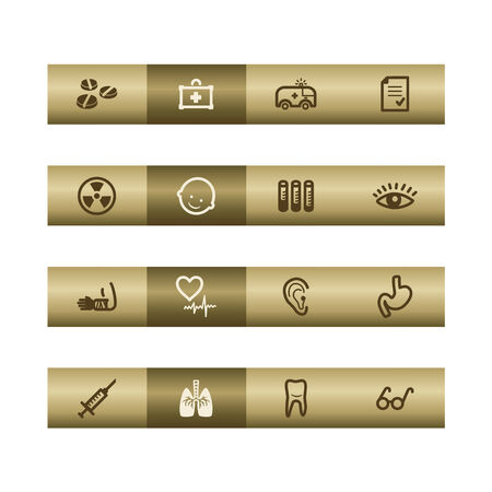 oculist: Medicine web icons on bronze bar. Vector file has layers, all icons in two versions are included.