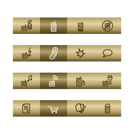 cylinder lock: Mobile phone web icons on bronze bar. Vector file has layers, all icons in two versions are included. Illustration