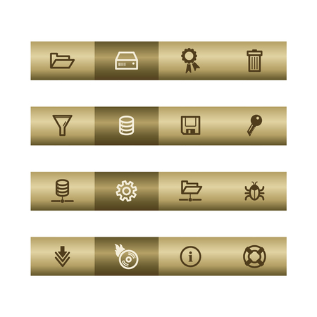 cylinder lock: Server web icons on bronze bar. Vector file has layers, all icons in two versions are included.