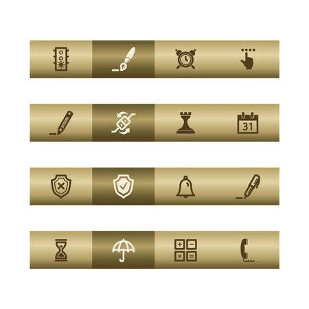Software web icons on bronze bar. Vector file has layers, all icons in two versions are included. Vector