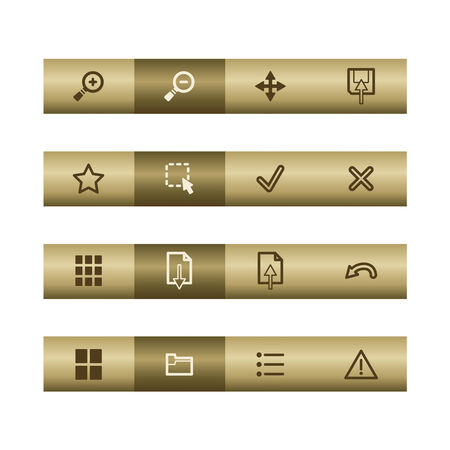 Image web viewer icons on bronze bar. Vector file has layers, all icons in two versions are included. Vector