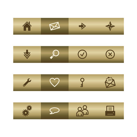 Basic web icons on bronze bar. Vector file has layers, all icons in two versions are included. Stock Vector - 3685179