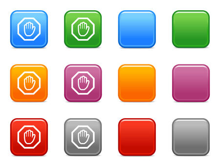 Color buttons with stop hand icon Vector