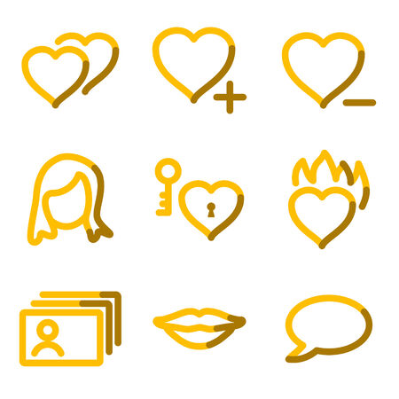 Dating icons, gold contour series Vector