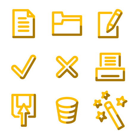 Document 2 icons, gold contour series Vector