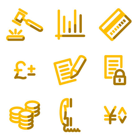 E-business icons, gold contour series Vector