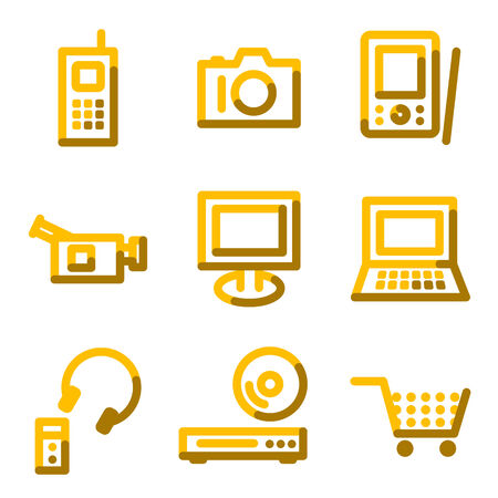 Electronics icons, gold contour series Vector