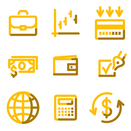 Finance icons, gold contour series Vector