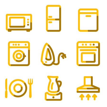 Home appliances icons, gold contour series Vector