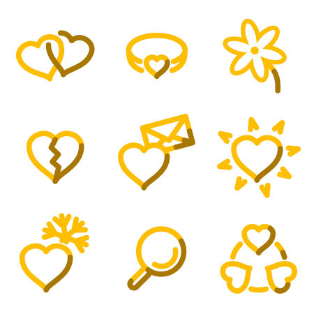 Love icons, gold contour series