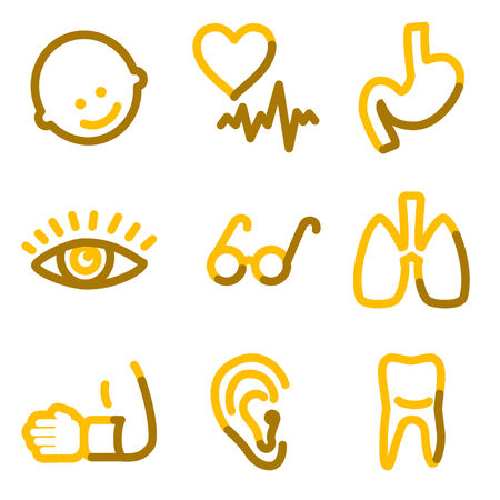 Medicine 2 icons, gold contour series Stock Vector - 3691773