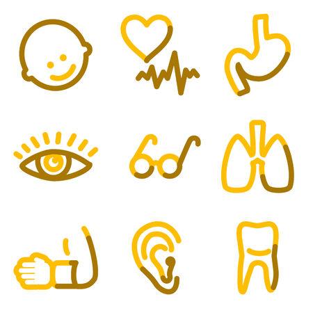 Medicine 2 icons, gold contour series Vector