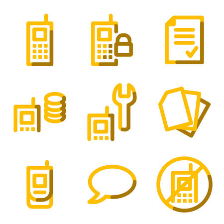 Mobile phone icons, gold contour series Vector