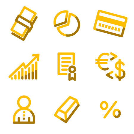 Money icons, gold contour series Stock Vector - 3691764