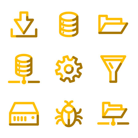 Server icons, gold contour series Stock Vector - 3691770