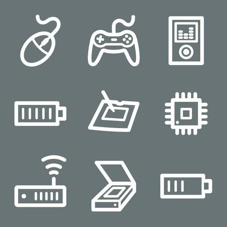 White electronics web icons V2 set 2 Stock Vector - 3732226