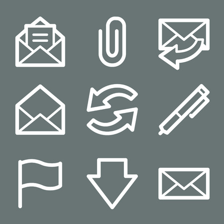 White e-mail web icons V2 Vector