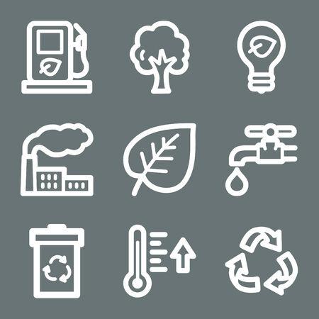 White ecology web icons V2 Vector