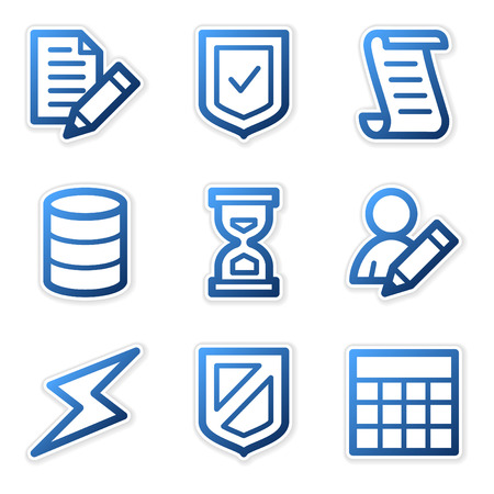 Database icons, blue contour series Stock Vector - 3754504