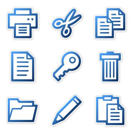 Document icons, blue contour series Vector