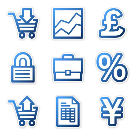 E-business icons, blue contour series Stock Vector - 3754649