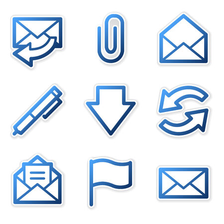 E-mail icons, blue contour series Vector