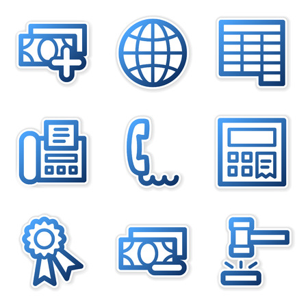 Finance icons 2, blue contour series Stock Vector - 3754647