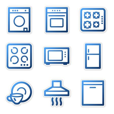 Household appliances icons, blue contour series Vector