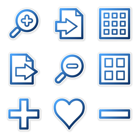 Image viewer icons, blue contour series Vector